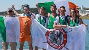 Team Ireland (L-R): Paul O'Donovan, Gary O'Donovan, Mark O'Donovan, Shane O'Driscoll and Denise Walsh