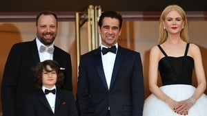 Colin Farrell at Cannes with The Killing of a Sacred Deer writer-director Yorgos Lanthimos and co-stars Sunny Suljic and Nicole Kidman