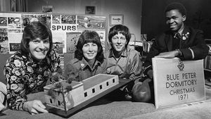 Blue Peter presenters Peter Purves, Valerie Singleton and John Noakes with Joseph Mutuku, a 16-year-old from the Starehe Centre in Kenya