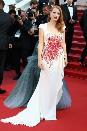 Closing Ceremony Sunday May 28:  Jury member Jessica Chastain graceful wearing a Zuhair Murad gown.