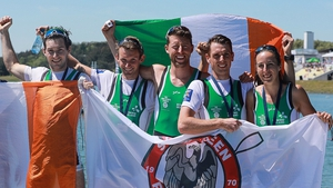 Ireland's medal winners, all from Skibbereen Rowing Club, at the European Championships