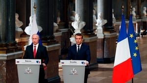 Emmanuel Macron and Vladimir Putin met in Versailles, France