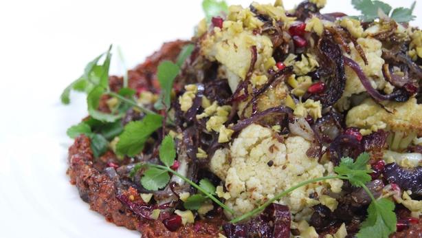 Roast Cauliflower with Red Onions and Cumin Seed and Muhammara