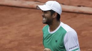 Fernando Verdasco celebrates hist first-round win at the French Open