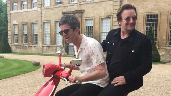 Noel and Bono having the craic at Aynhoe Park  Twitter - @U2start