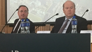 NAMA CEO Brendan McDonagh and Michael Noonan at the launch of today's annual report