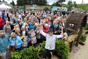 Des Kingston welcoming crowds to his Super Garden winning garden at Bloom