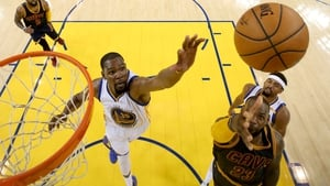 Golden State's Kevin Durant attempts to defend LeBron James during Game 1