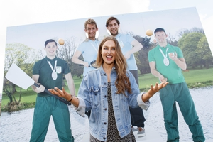 Roz Purcell and Gary & Paul O'Donovan take a break before taking to the Bord Bia stage to promote healthy egg recipes