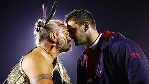 Sam Warburton receives a hongi from a Maori Chief.