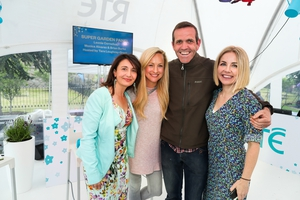 The Super Garden panel in the RTÉ tent: Judges Melanie Alvarez (r) and Leonie Cronelius with previous winner Brian Burke & MC, LifeStyle's Taragh Loughrey-Grant
