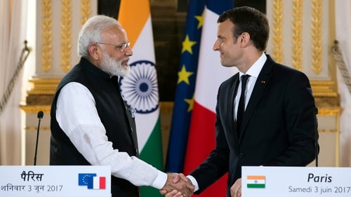 Indian Prime Minister Narendra Modi and French President Emmanuel Macron delivered a joint statement after meeting in Paris