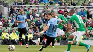 Christie scores Ireland's second against Uruguay at the Aviva Stadium