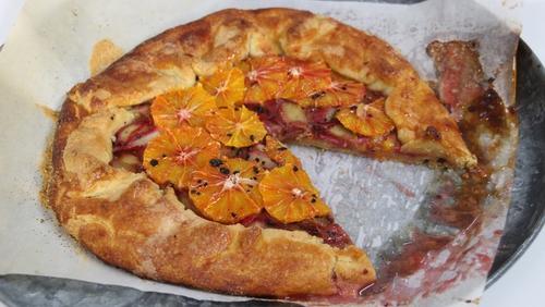 Champagne Rhubarb and Blood Orange Tart