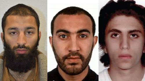 (L-R) Khuram Butt, Rachid Redouane and Youssef Zaghba carried out the London attack