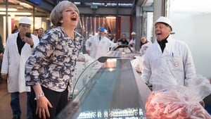 Theresa May in London's Smithfield meat market this morning on the final day of campaigning for tomorrow's general election