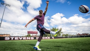 Garry Ringrose practices his kicking in Hoboken, New Jersey