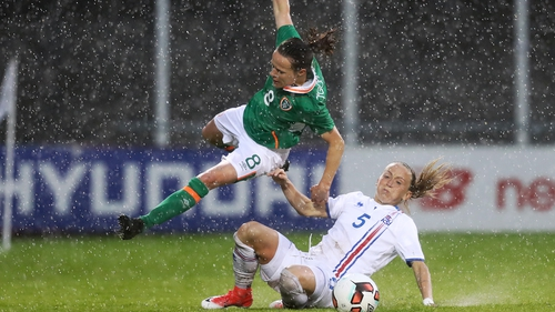 Ireland's Aine O'Gorman hurdles Gunnhildur Yrsa Jonsdottir of Iceland