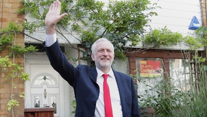 Jeremy Corbyn outside his home in London this morning