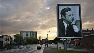 Sgt. Pepper at 50 - artist Jeremy Deller's installation piece in Liverpool includes a portrait of Beatles' manager Brian Epstein.