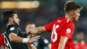 Sebastien Prodl, in action here against Shane Long, is in line to win his 51st international cap at the Aviva Stadium