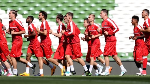 The Austrian squad being put through their paces at the Aviva Stadium