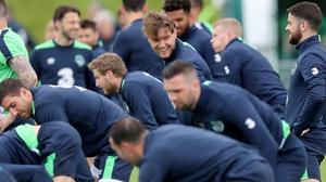 The Republic of Ireland player sin training on Saturday