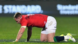 Stuart Hogg after he collided with Conor Murray