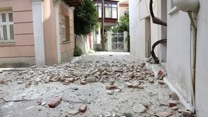 Debris shaken from buildings in the town of Plomari on Lesbos