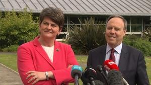 DUP leader Arlene Foster and DUP MP Nigel Dodds talk to the media