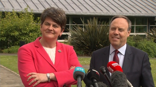 DUP leader Arlene Foster and DUP MP Nigel Dodds talk to the media