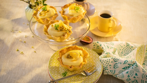 Get exotic with these mini tartlets! A creamy filling is flavoured with sweet and tangy tropical fruits and encased in a crunchy pastry base to make this perfect summer dessert. For added convenience, the pastry bases can be made ahead of time.