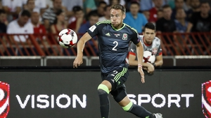 Chris Gunter in action during Wales' draw against Serbia