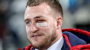 Stuart Hogg watches at the Highlanders v Lions game but his tour is over