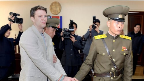 A handout photo of Otto Warmbier following his arrest