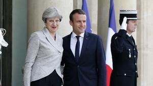 Theresa May and Emmanuel Macron met at The Elysee Palace in Paris