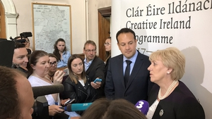 Taoiseach Leo Varadkar, and Minister for the Arts, Heather Humphreys, announcing details of the new Social Welfare Scheme for artists earlier this year