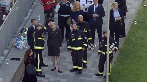 Theresa May at Grenfell Tower, London