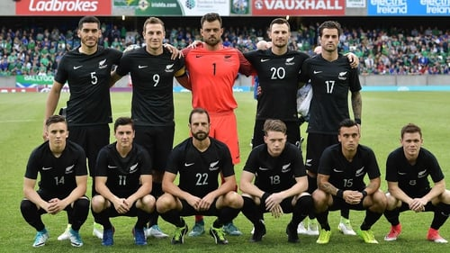 New Zealand line up before their friendly against Northern Ireland at Windsor Park