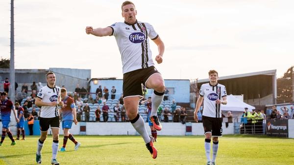 Patrick McEleney celebrates his wonder goal