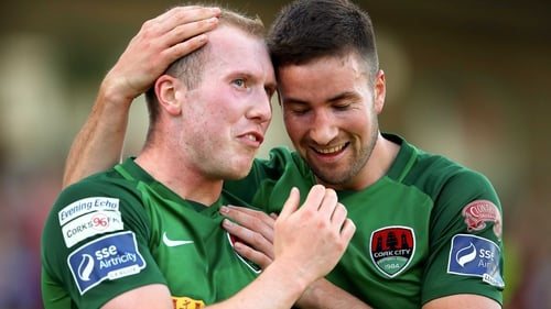Cork's Stephen Dooley celebrates scoring his sides second goal with Gearoid Morrissey