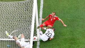 Michael Boxall tried to keep the ball out but it crossed the line