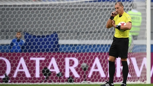 Argentina's referee Nestor Pitana gestures during the clash between Portugal and Mexico