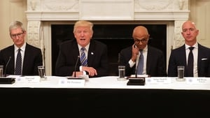 Apple CEO Tim Cook, President Donald Trump, Microsoft CEO Satya Nadella and Amazon's Jeff Bezos at the technology discussions