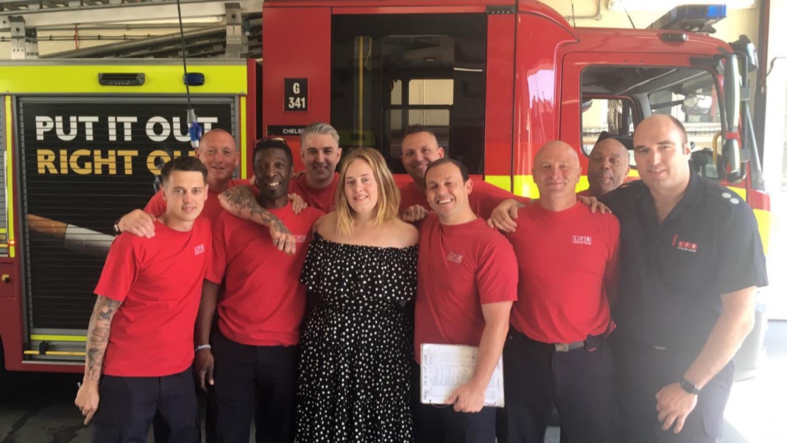 Adele visits Grenfell Tower firefighters for a cup of tea and a cuddle forecasting