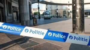 Police cordon outside Brussels Central railway station