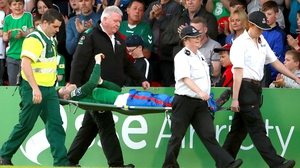 John Dunleavy is stretchered off during Cork's win against Limerick