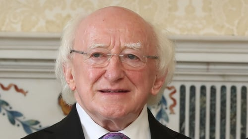 President Michael D Higgins was speaking to students and teachers at Áras an Uachtaráin