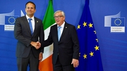 Leo Varadkar is welcomed by Jean-Claude Juncker