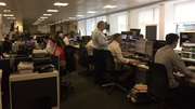 The trading floor of Cantor Fitzgerald as the AIB IPO begins